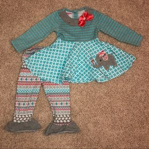 Nannette teal gray and coral elephant outfit 12-18